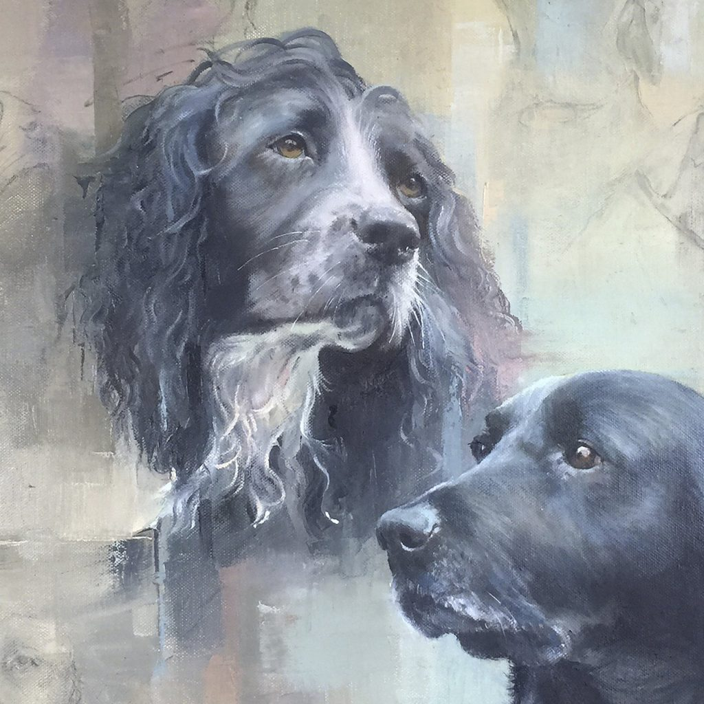 Spaniel and Labrador dog portraits: pet portrait dog commission