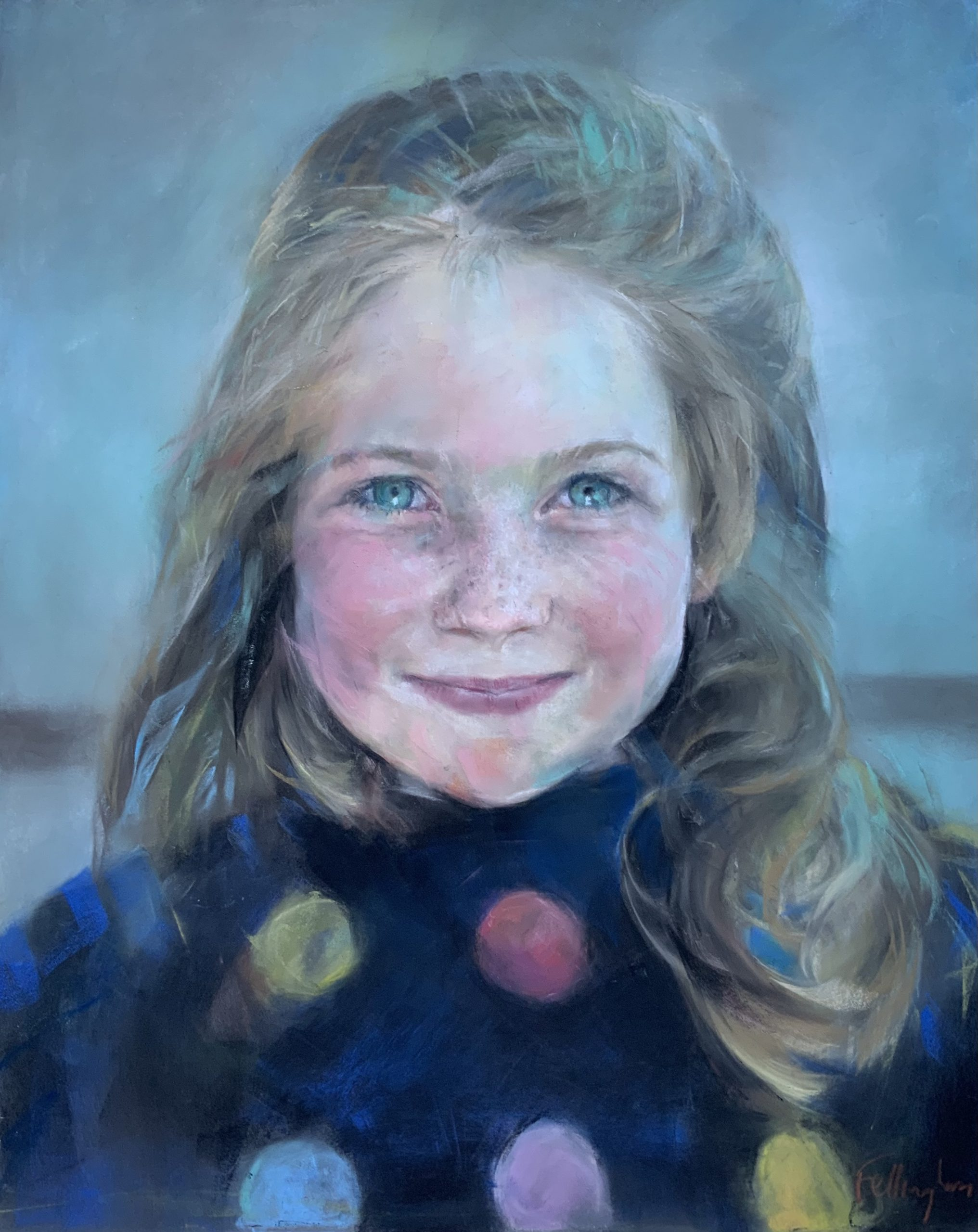 Chalk pastel portrait drawing